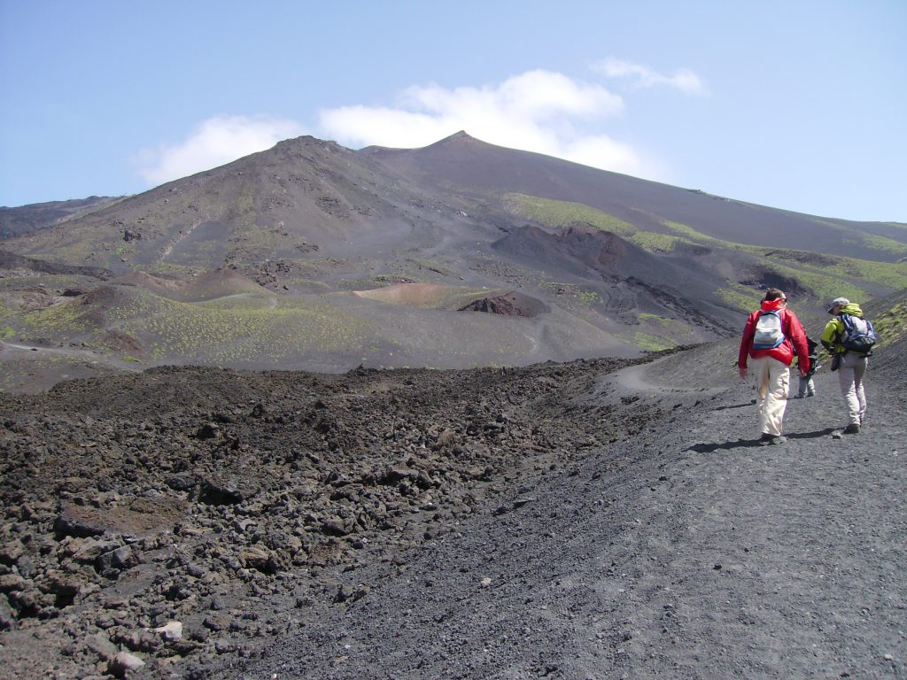 people hiking on Etna