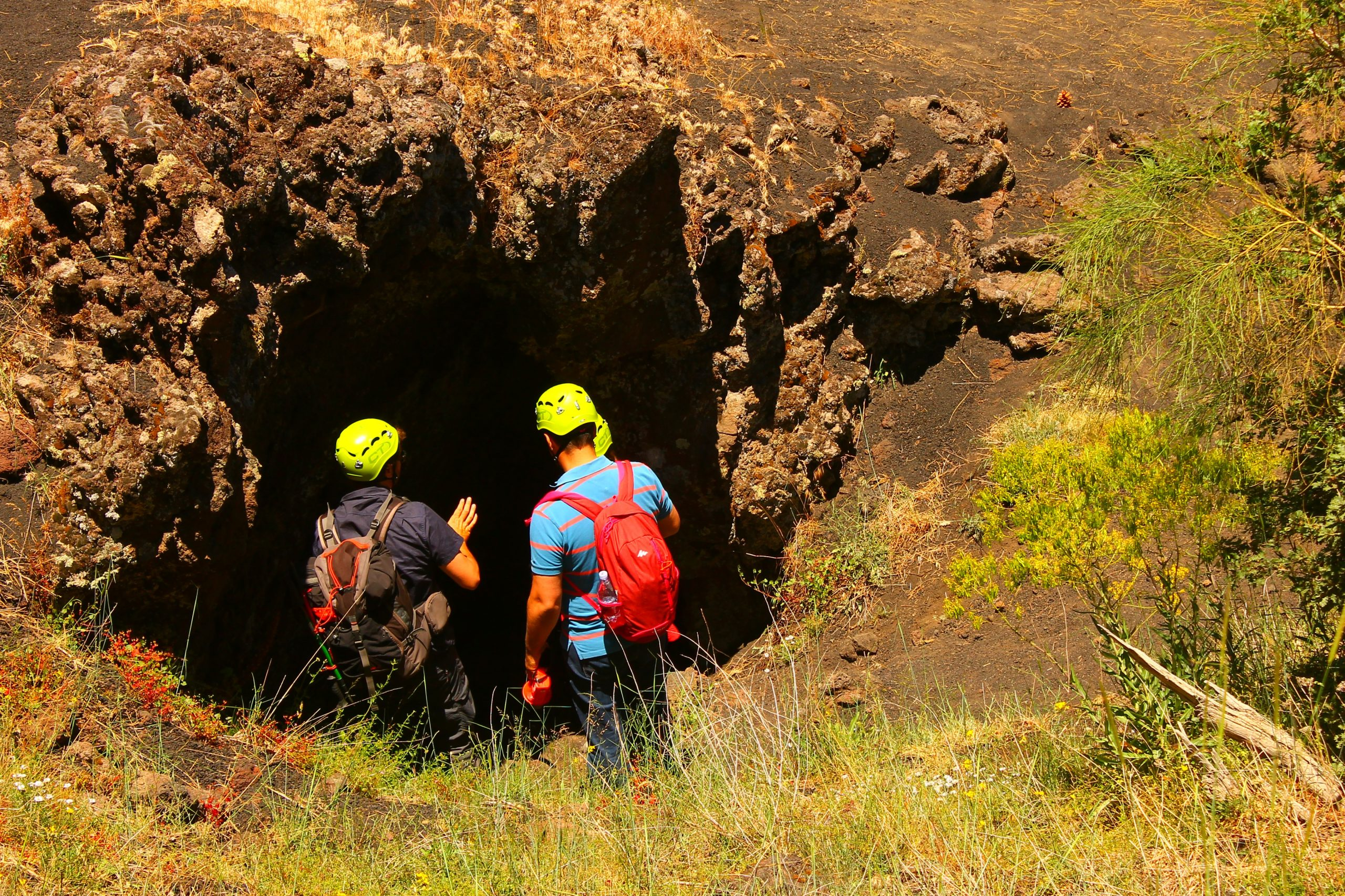 Exploring Etna caves with guides