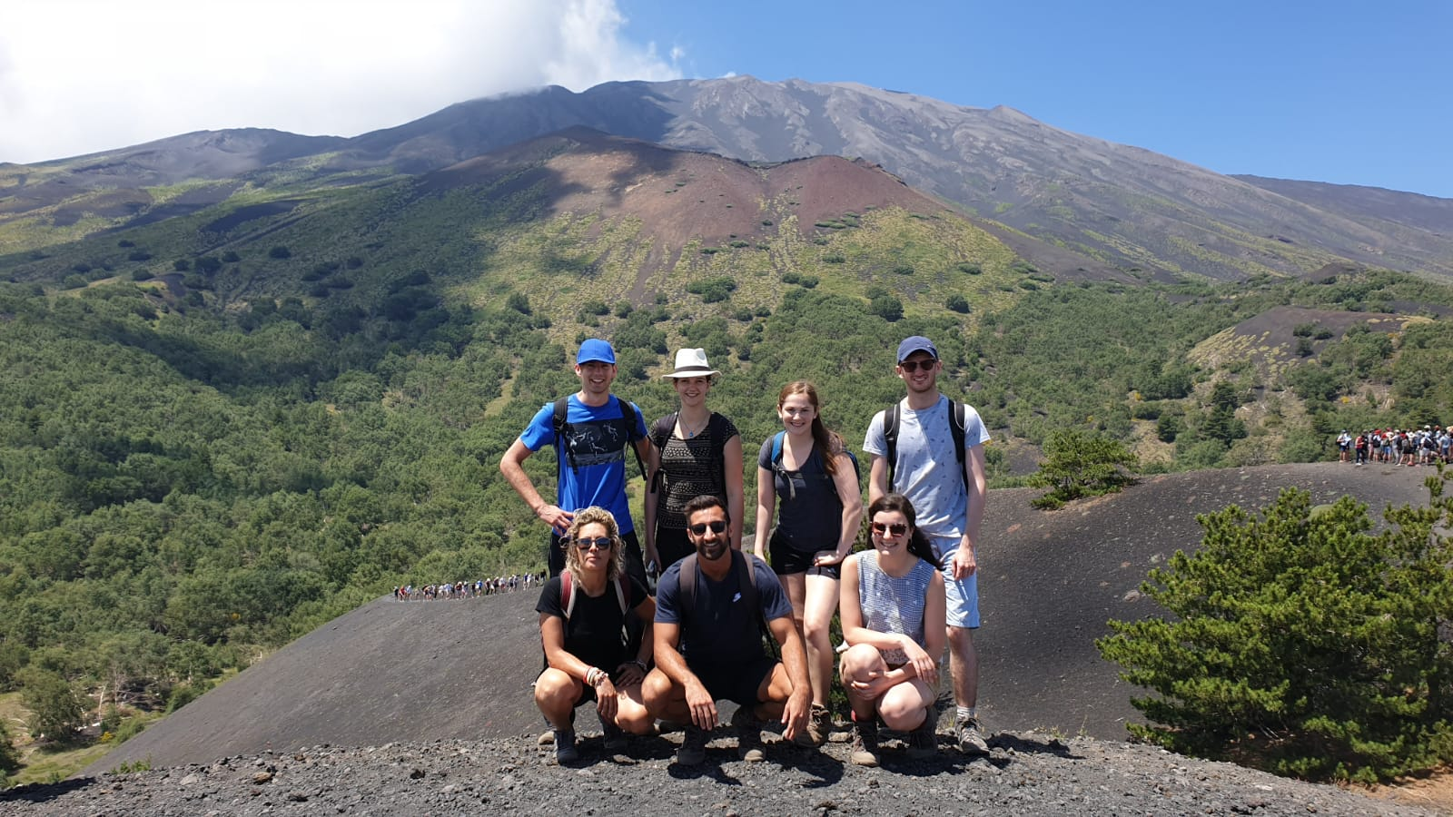 group enjoying trekking up Mt Etna