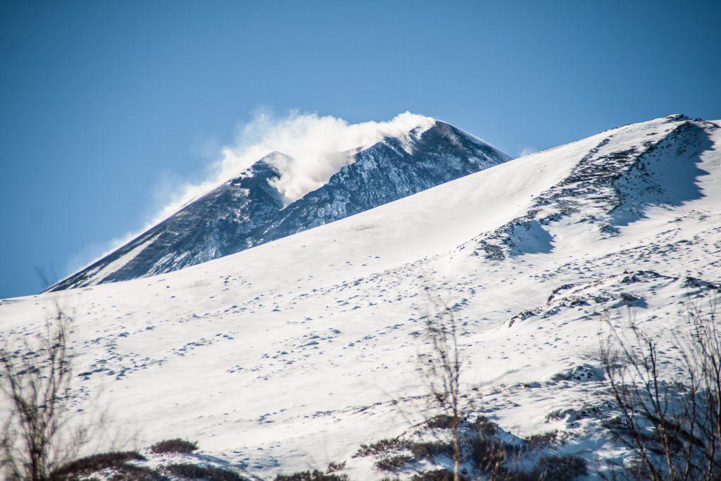 snow on Etna, beautiful landscape for children