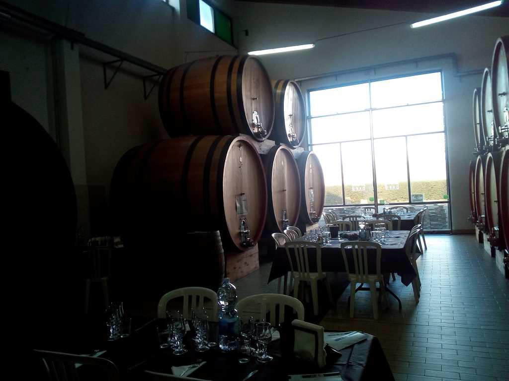 Wine barrels in a winery on Etna