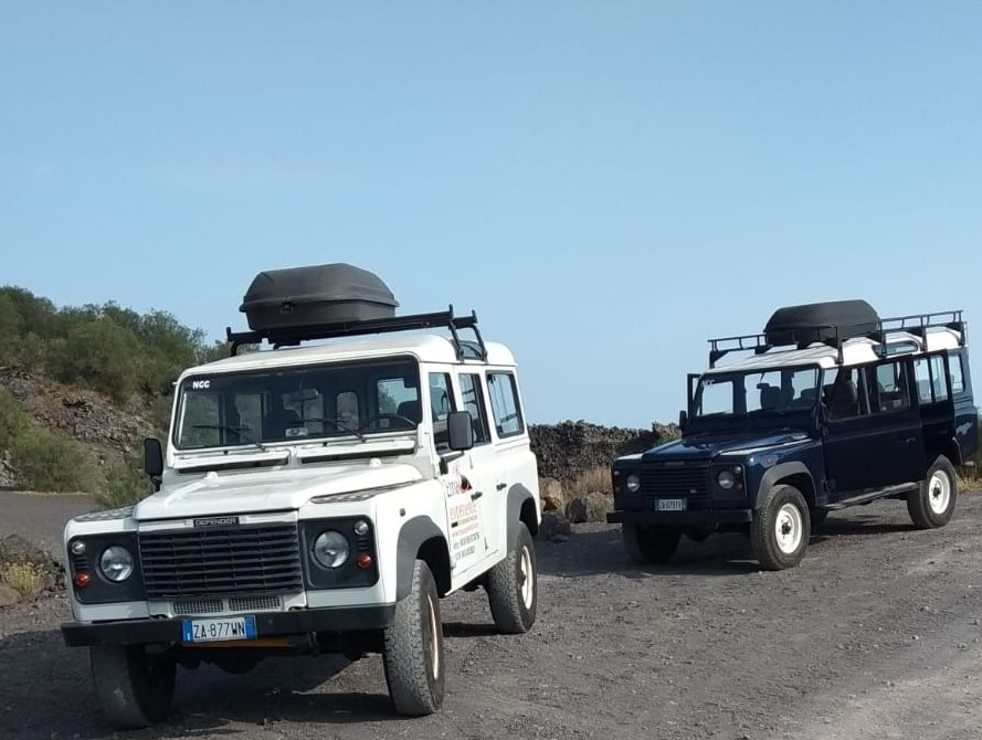 Two 4x4 cars on Etna,ready for an off-road tour!