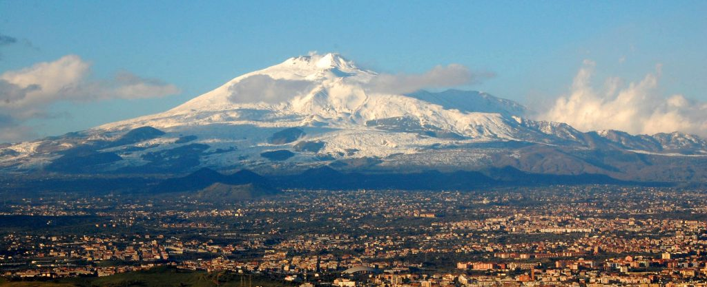 Mount Etna with its villages
