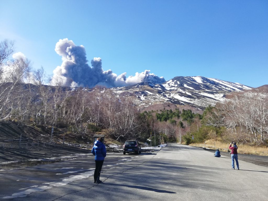 Cloud of lava ash coming out from Etna