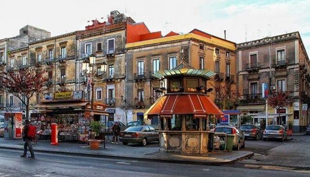 a kiosk in Piazza Vittorio Emanuele in Catania