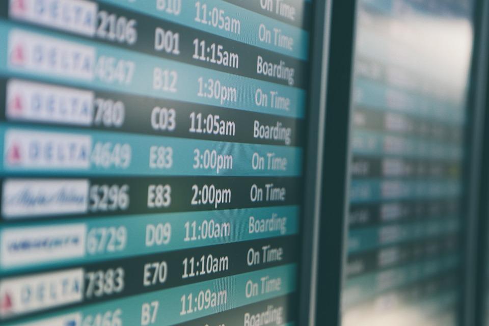 Tableau dans l'aéroport