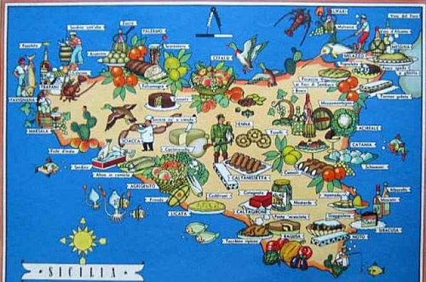 map of Sicily with its specialities