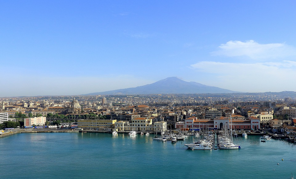 Mt. Etna and the port of Catania