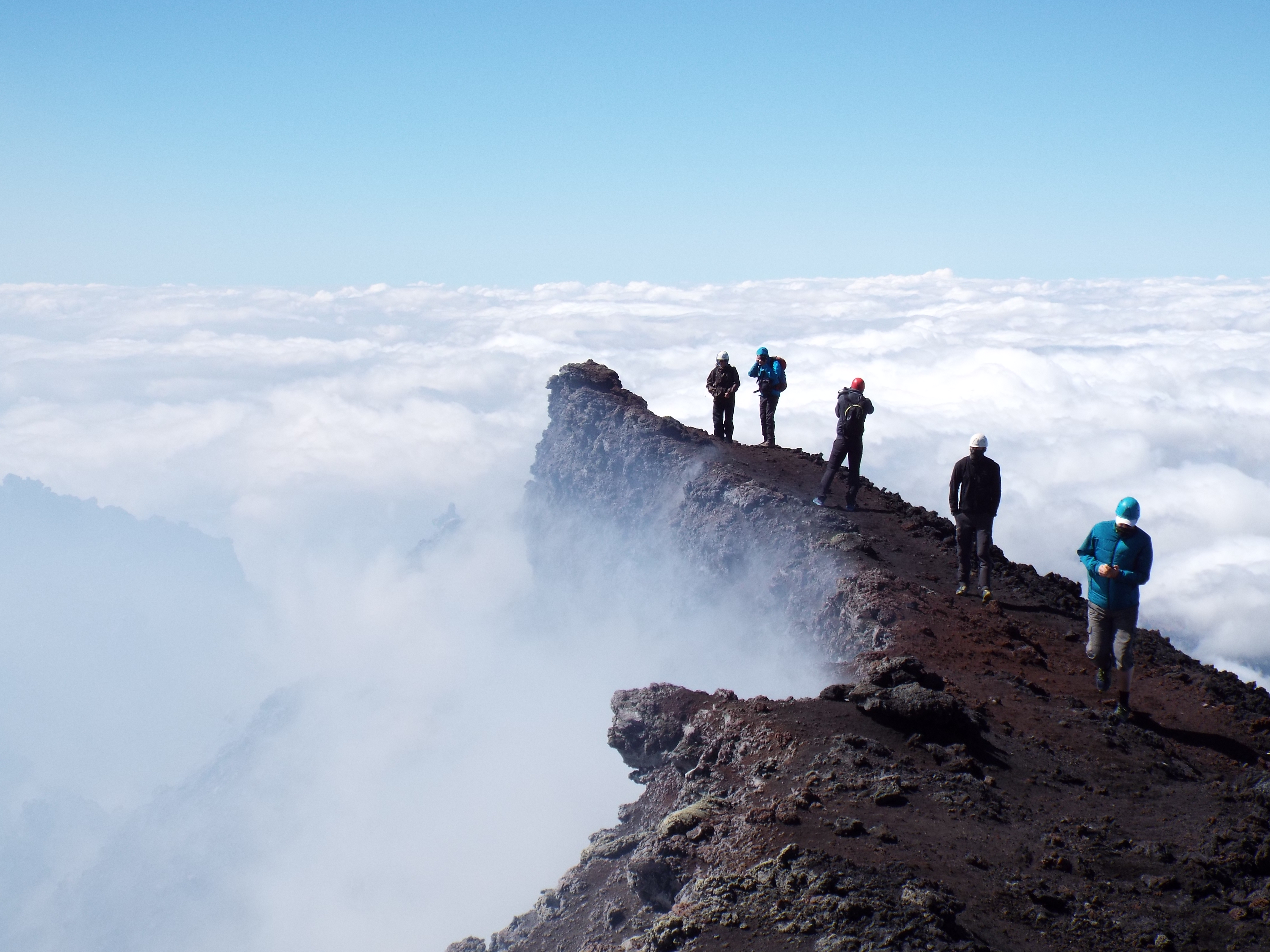 hiking over the top of Etna volcano
